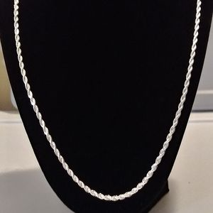 18kt white gf rope necklace